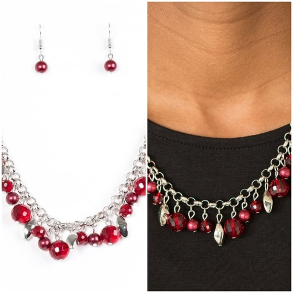 BRING DOWN THE CURTAIN RED NECKLACE/EARRING SET